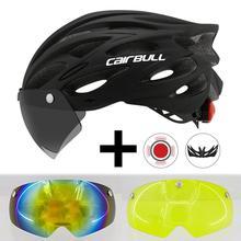 Cairbull Ultralight Fietsen Helm Met Afneembaar Vizier Goggles Bike Achterlicht Intergrally Gegoten Mountain Road Mtb Helmen 230G