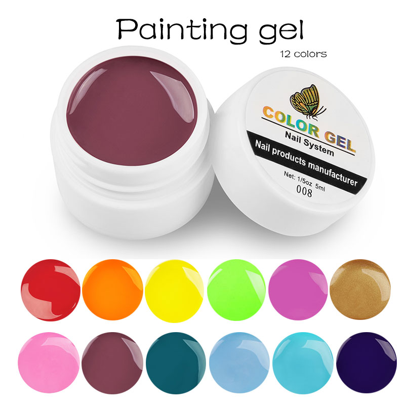 Lghzlink Paint Color Nail Gel Polish Nail Art Tips DIY Design Manicure 12 Color UV LED Soak Off UV Gel Varnish Lacquer Gel Ink