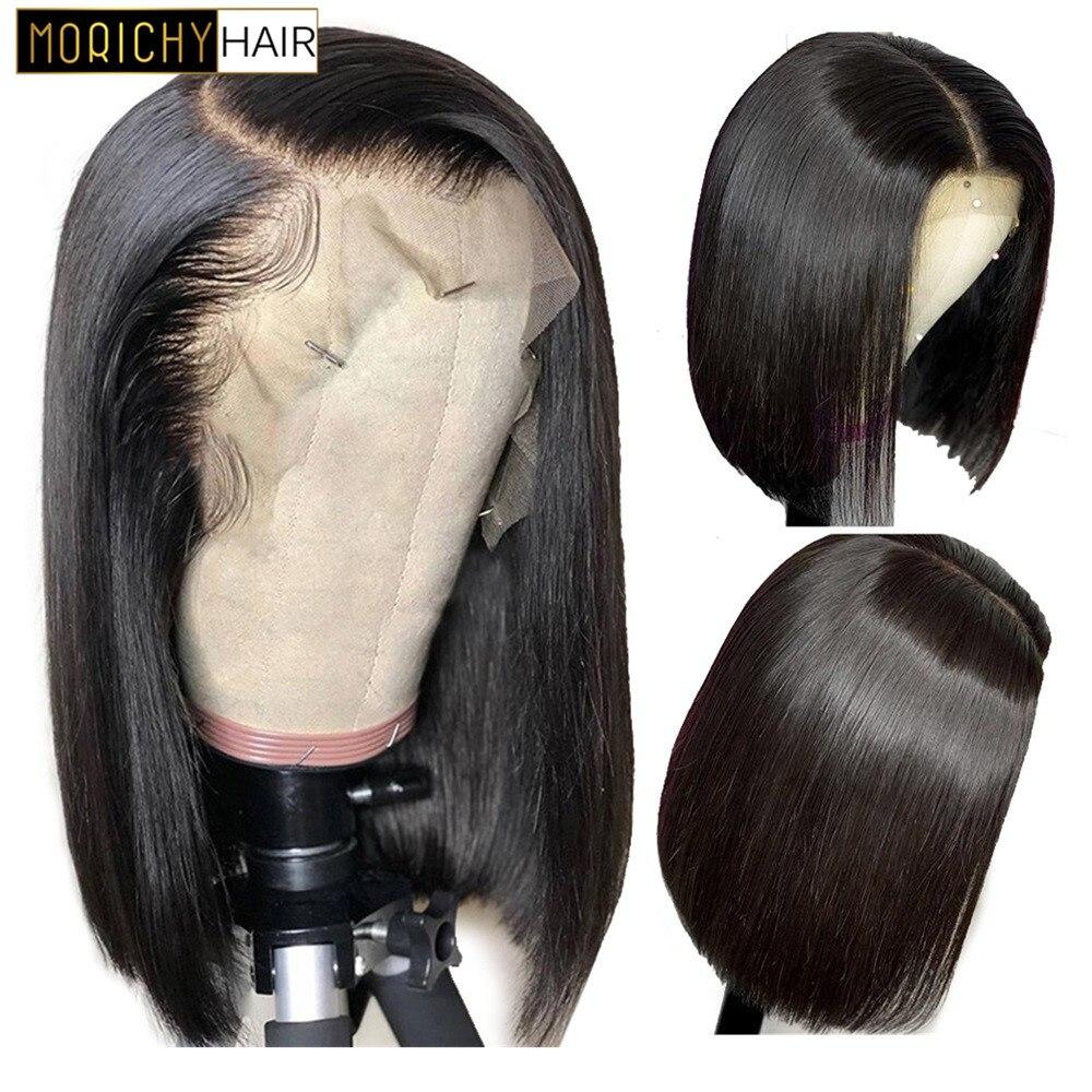 13x4 Short Lace Front Human Hair Wigs 130% Density Brazilian Straight Bob Lace Wig For Women Morichy Hair Wigs
