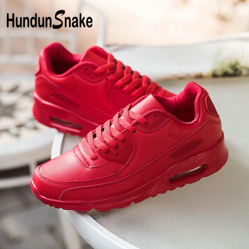 Hundunsnake Leather Zapatillas De Hombre Air Cushion Men Shoes Sneakers Red Women Sport Shoes Men Footwear Walk Deportivas G-28