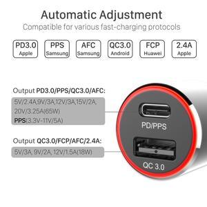 Быстрое Автомобильное зарядное устройство 83 Вт, 1 порт USB C PPS/PD 65 Вт/45 Вт/30 Вт/18 Вт, 1 порт QC3.0 для TYPE C Thunderbolt 3 ноутбука iphone11/SE S10/S20/Note 10