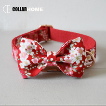 New dog collar leash set with bow tie cat pet straps for small medium large dogs bulldog collar Christmas decorations necklace watermelon nylon dog collar leash for medium large dogs pet necklace with bow tie adjustable rose god buckles christmas gift