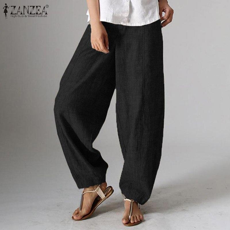 ZANZEA Women Lanten   Pants   Elegant Work OL High Waist   Wide     Leg     Pants   Casual Loose Trousers Female Harem Pantalon Plus Size