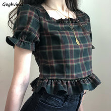 T-shirts Frauen Plaid Crop Tops Schmetterling Hülse Quadrat Kragen Vintage Koreanische Adrette Süße Nette Mädchen Freizeit Elegante Tops