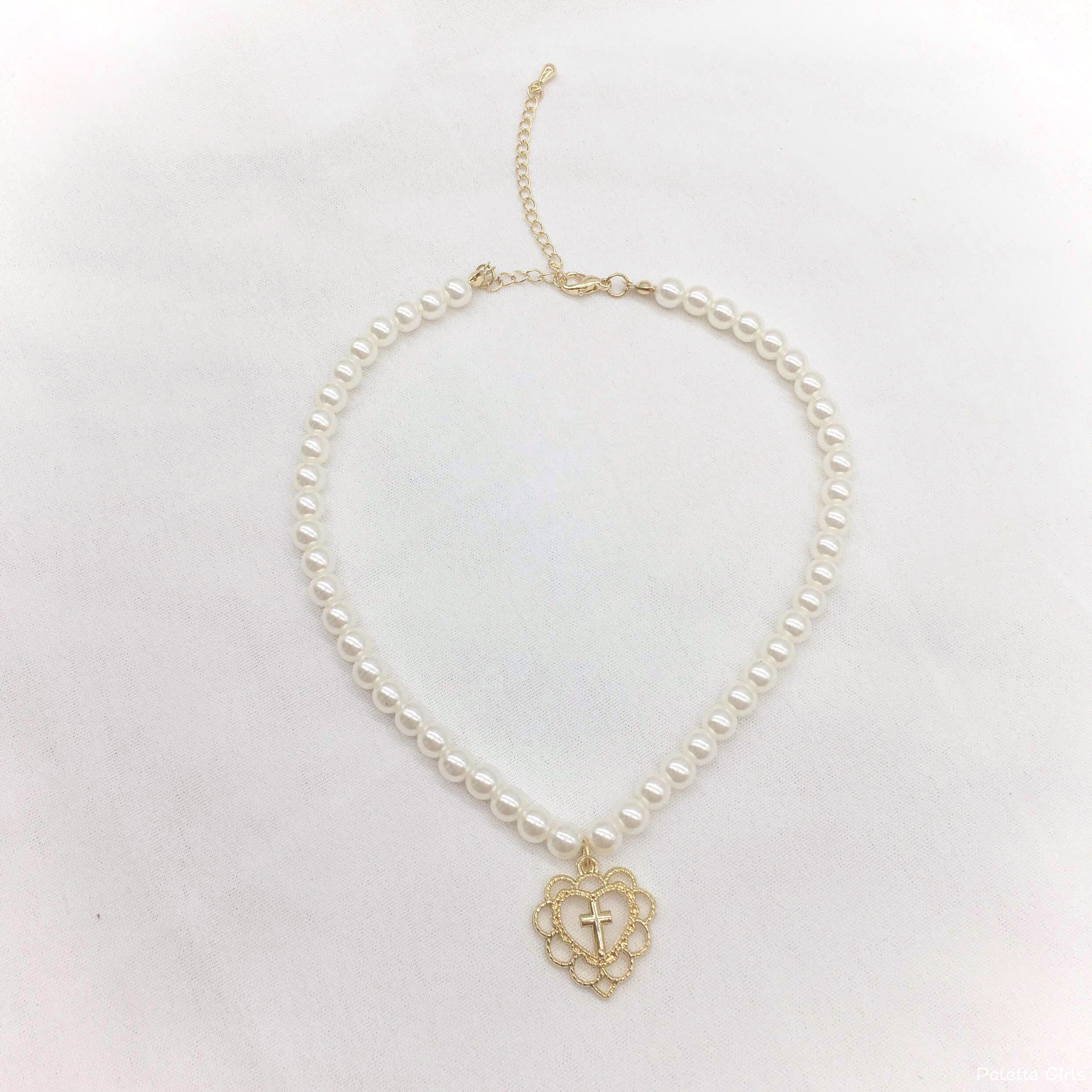 Vintage Cross Heart Pendant Imitation Pearls Choker Necklace for Women Gold Color 2020 Fashion Jewelry Clavicle Chain Necklaces
