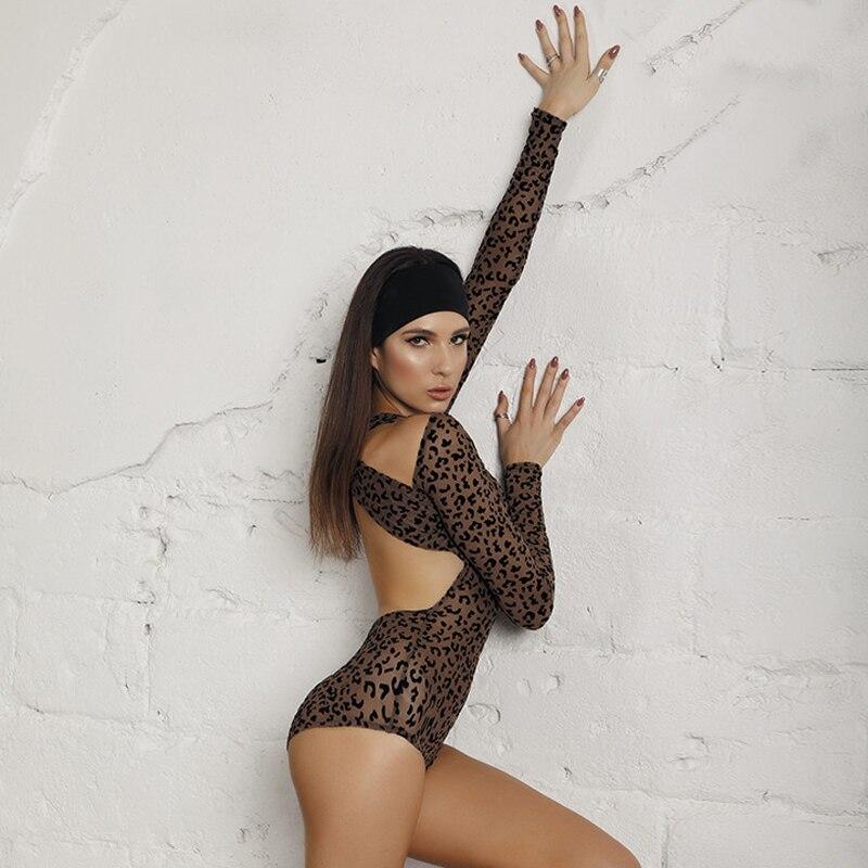 2020 Leopard Dance Costume Latin Top Long Sleeve Leotard Sexy Backless Female Art Exam Show Wear Latin Dancing Jumpstuit BI393