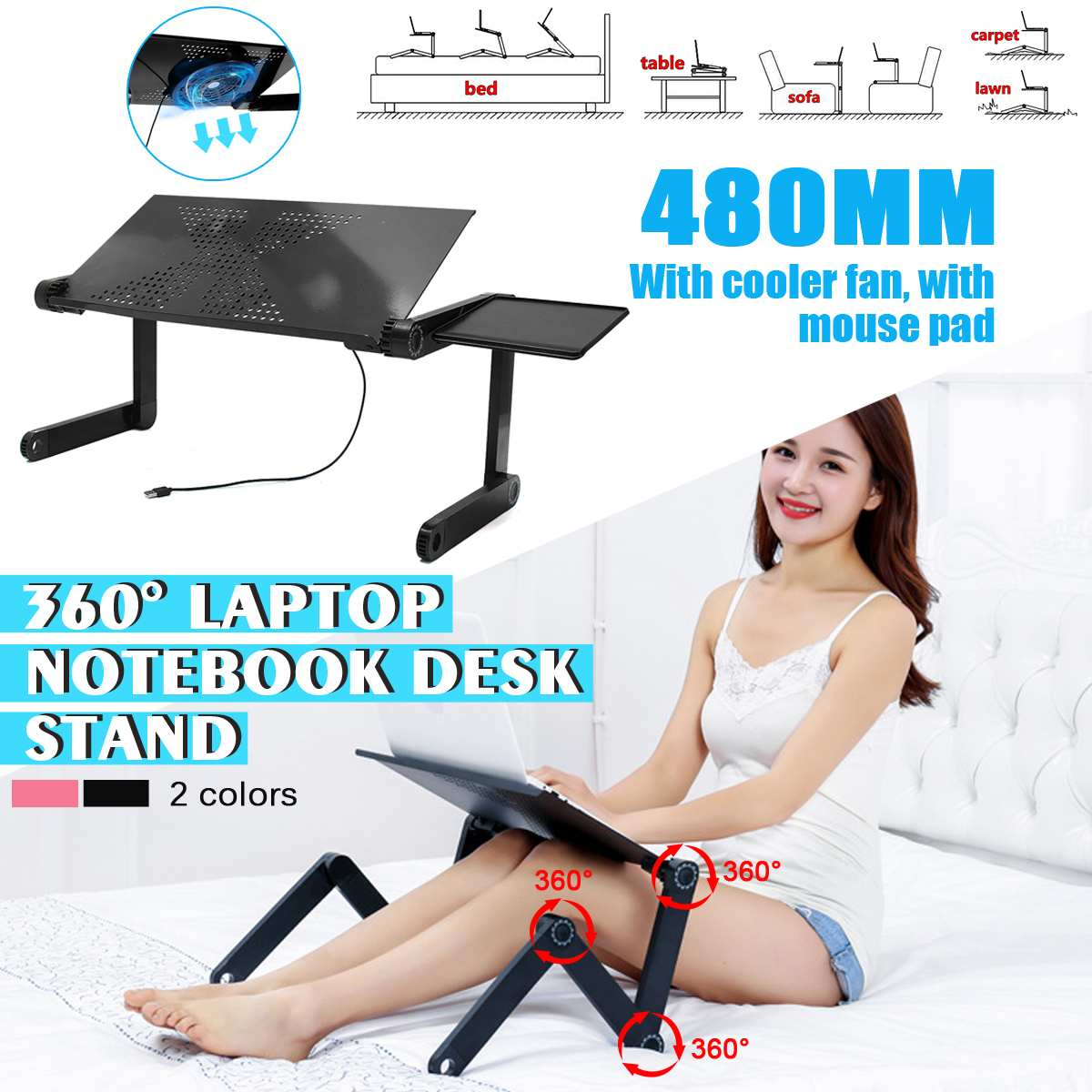 Laptop Desk Multi-function Lapdesk Table Stand Bed Tray Portable Laptop Stand Aluminium Holder With Mouse Pad USB Cooler