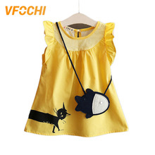 VFOCHI 2019 New Girl Dresses Summer Casual Kids Clothes Color Yellow Cute Baby Girls Dress with Bag Kids Dresses For Girls 1-10Y baby toddlers kids girl dress blue cute minnie mouse sleeveless little bag ruffles demin casual kids girls for dresses vestidos