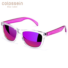COLOSSEIN BLUE LABEL Plastic Fashion Sunglasses Women Rectangle White Frame Cool Eyewear Popular Female Beach Glasses Hot Sale