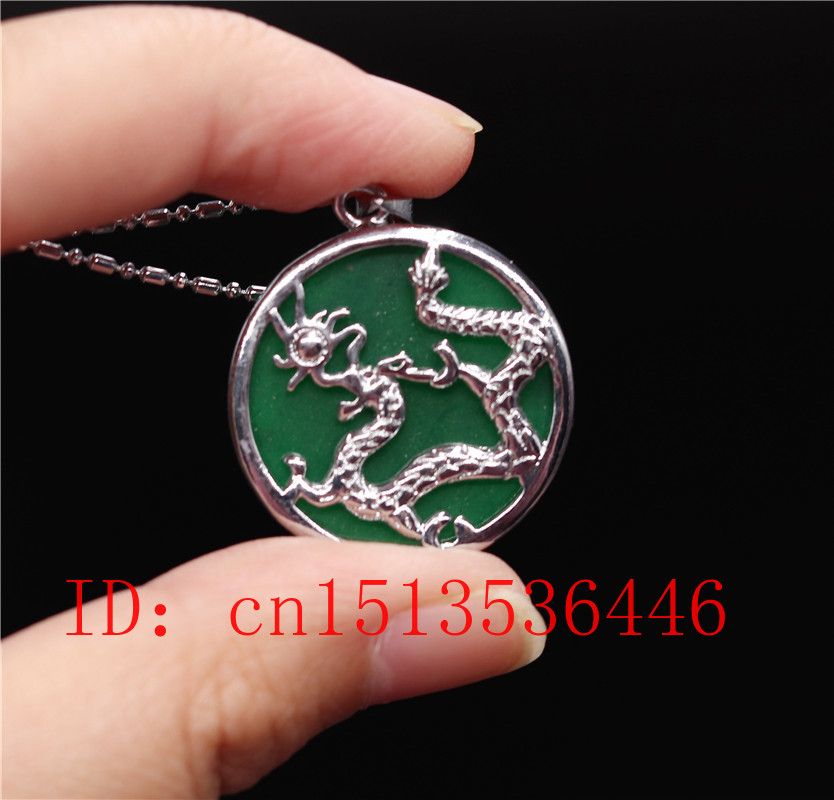 Chinese Green Jade Dragon Pendant Necklace Jewellery Hand-Carved Relax Healing Women Man Luck Gift Free Rope Amulet P16
