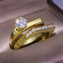 RongXing clásico seis garra redondo circón doble anillos para Mujeres Hombres moda oro Color anillo conjunto mujer boda compromiso joyería