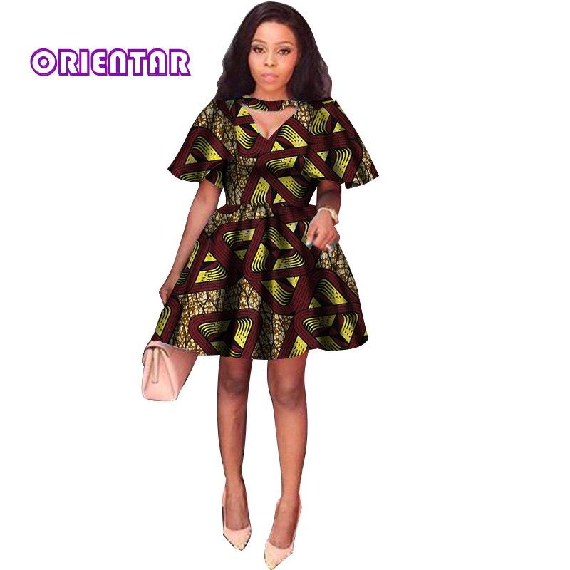 2018 D'été Robes Africaines pour Femmes Impression Tradition Dashiki Robe Manches Courtes décontracté Vêtements Indiens Dame Vêtements WY2869 - 5
