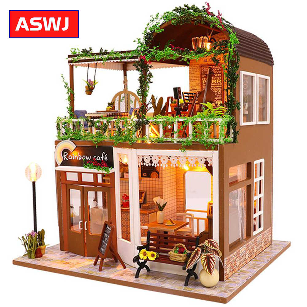 DIY Cafe Miniature Doll Houses Building Kits Assemble Toys Wooden Handmade Dollhouse Puzzles Furnitures House Toy Christmas Gift