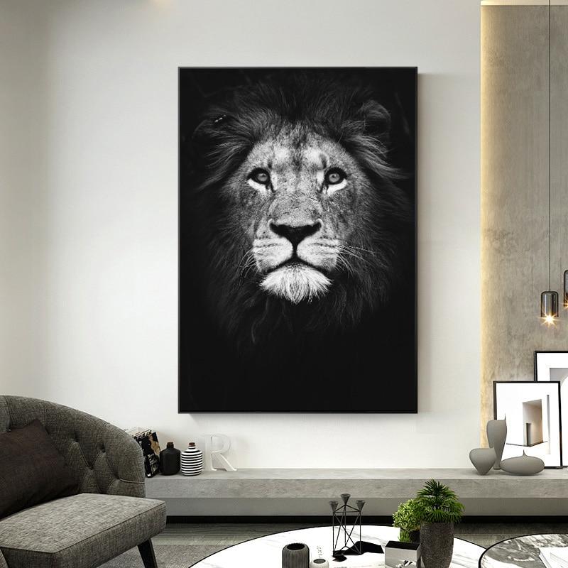 Lion Large Poster Art Print Black /& White Card or Canvas