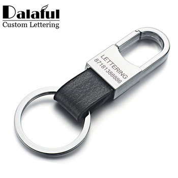 Dalaful Custom Lettering Keyring Keychain Genuine Leather Men's Simple Key chains Holder Keyfob For Car Accessories Gift K212
