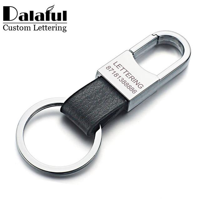 Dalaful Custom Lettering Keyring Keychain Genuine Leather Men's Simple Key chains Holder Keyfob For Car Accessories Gift K212