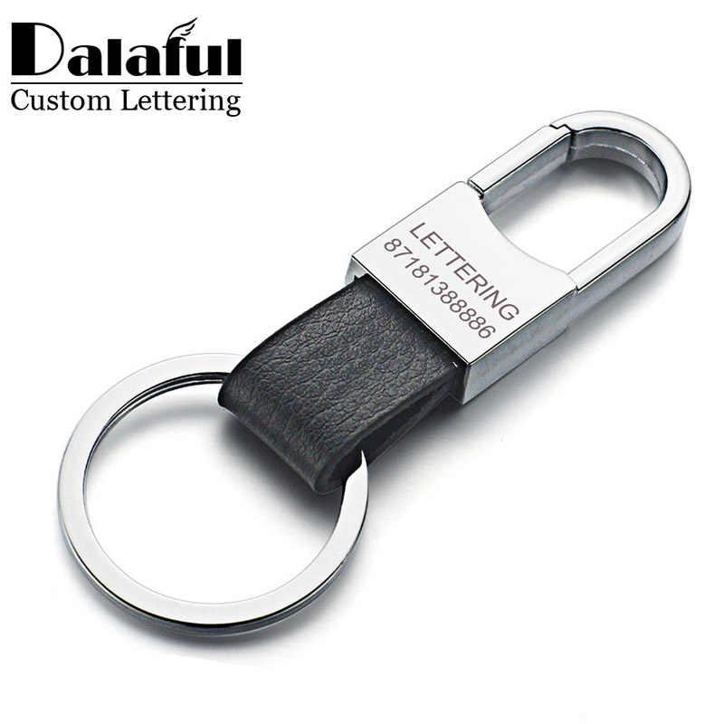 Dalaful ตัวอักษรที่กำหนดเองพวงกุญแจของแท้หนังผู้ชายที่เรียบง่าย Key Holder Keyfob สำหรับอุปกรณ์รถ Gift K212