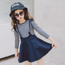 2PCS Kids Outfit Kid Long Sleeve Tshirt + Denim Dress Set Girl Clothes Outfits Toddler Girls Clothing Sets Dress Girl Girls Sets