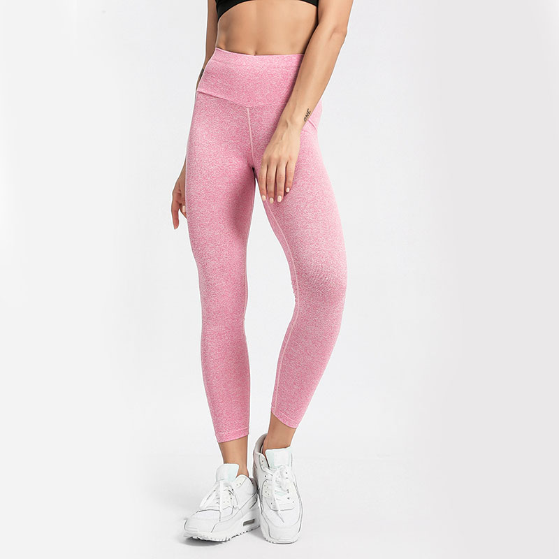NORMOV Fitness Women Leggings Solid Patchwork High Elastic Waist Ankle Length Leggings Skinny Pink Hollow Out Push Up Leggins