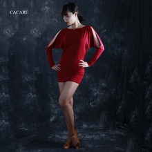CACARE Latin Salsa Dance Dress for Women Fringe Competition Dresses 6 Choices D0401 Long Sleeve