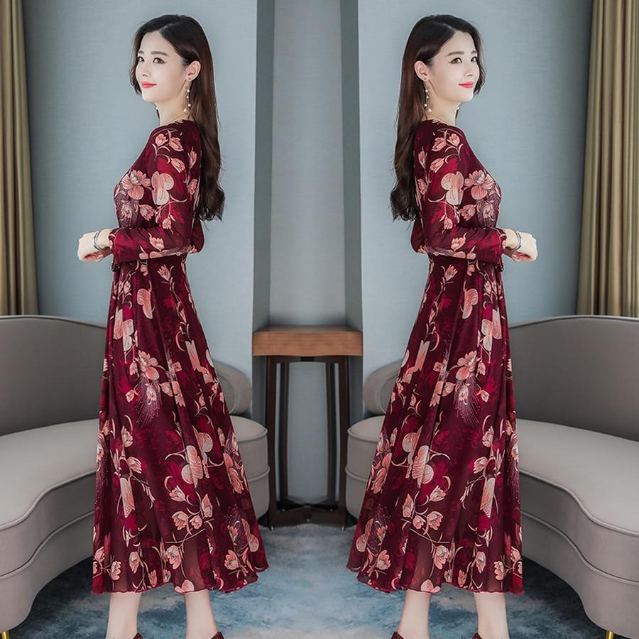 2019 Vintage 3XL Plus Size Floral Chiffon Beach Midi Dresses Autumn Winter Long Sleeve Maxi Dress Women Elegant Party Vestidos 6