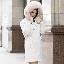 Женские зимние парки с большим мехом и капюшоном,, белая зимняя куртка, женское плотное пальто с натуральным мехом, большие размеры