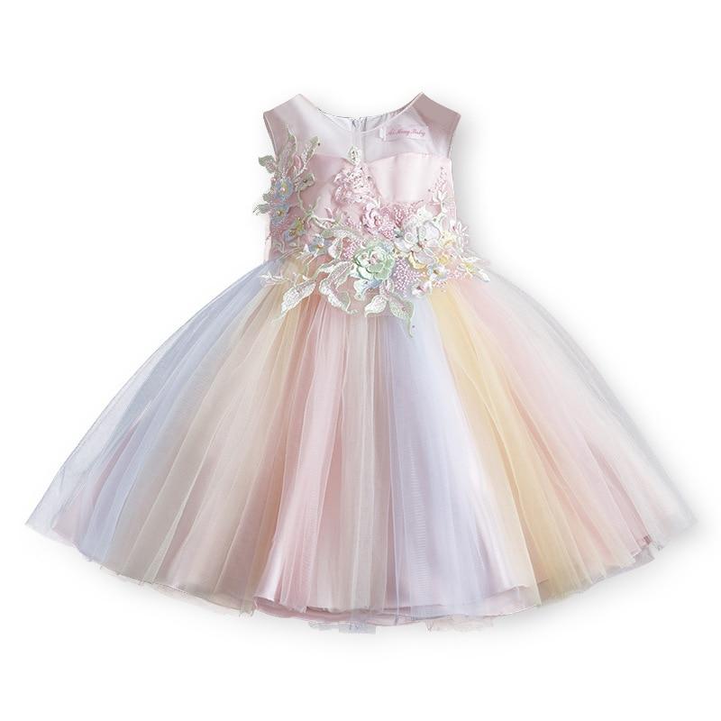 Girls Princess Wedding Dress Kids Host Party Show Dress Summer Children's Embroidery Child Girl Fluffy Christmas Dress 3-11yrs