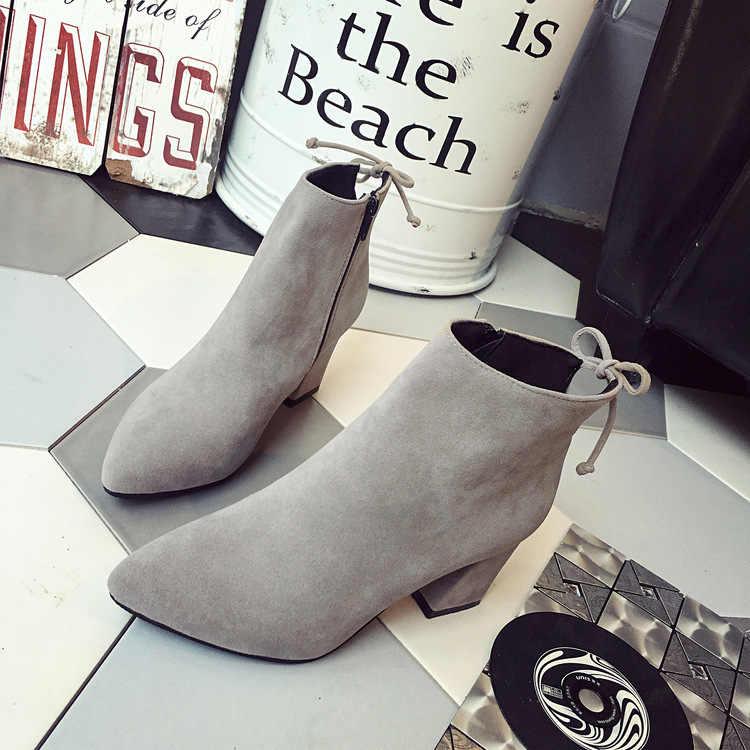 Nova womens botas curtas feminino dedo do pé apontado calcanhar grosso botas de tornozelo de salto alto rebanho zíper único botas de outono tamanho 34-42