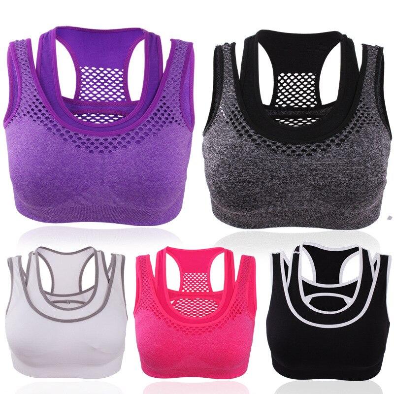 Tops Vest Women Breathable Sport Bras Quick Dry Mesh Sport Bras Girls Push Up Padded Shakeproof Yoga Bra Jogging Running Tops
