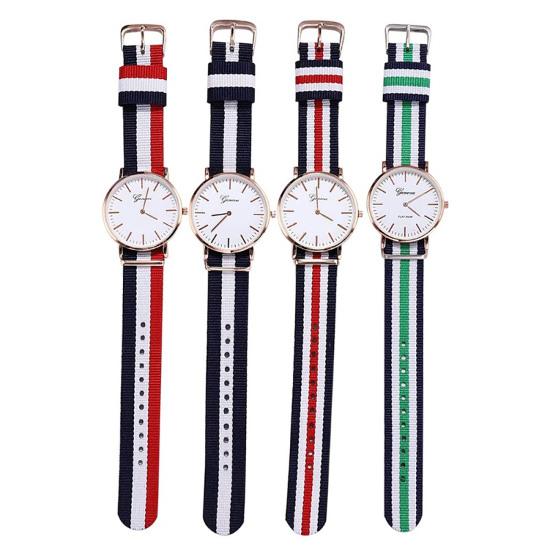 Quartz Wrist Watch Simple Style Striped Pin Buckled Canvas Band Strap Wristwatch Decoration