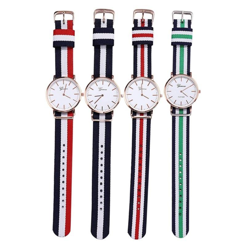 Quartz Wrist Watch Simple Style Striped Pin Buckled Canvas Band Strap Wristwatch Decoration