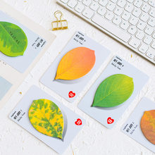 Mini bloc-Notes adhésif, étiquette autocollante, feuille verte, érable, marqueur, pour livre, bureau, école, nouveauté, 5 pièces, A6953