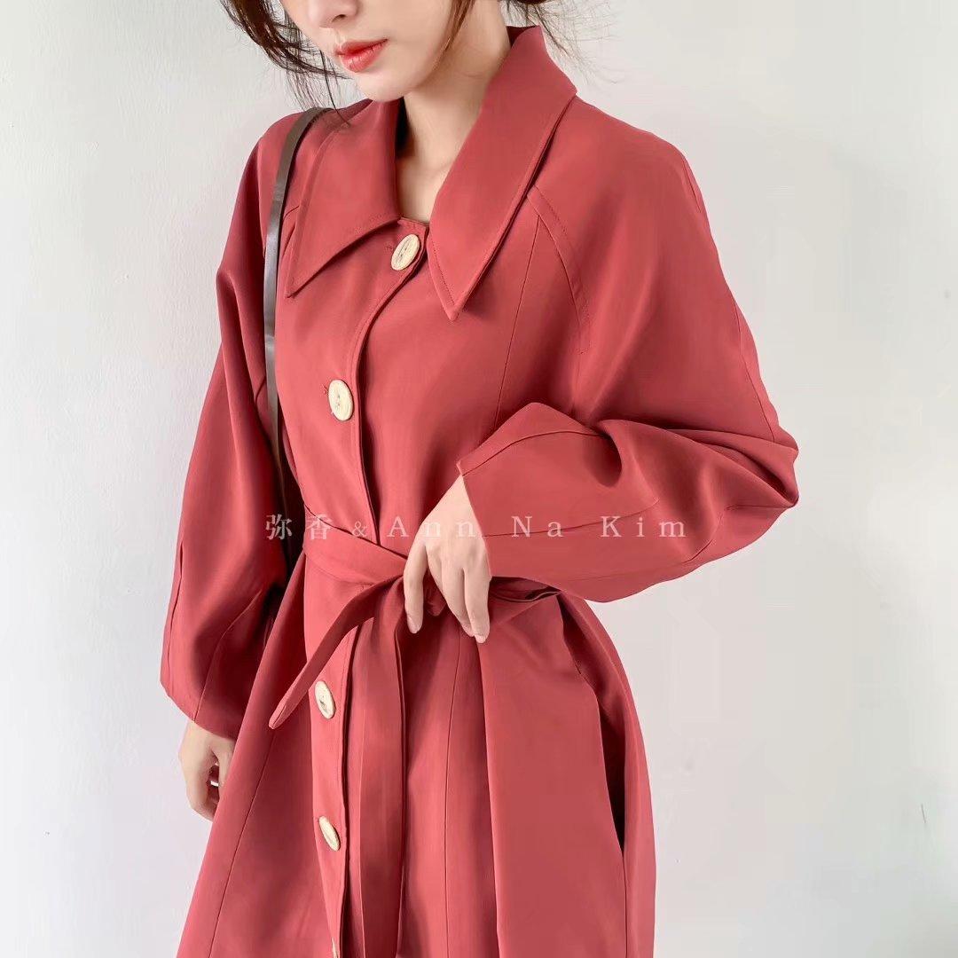 2019 Fashion Candy Colors Lapel Single-breasted Long Women   Trench   Coat A-Line Elegant Sweet Female Waist Belt Casual Windbreaker
