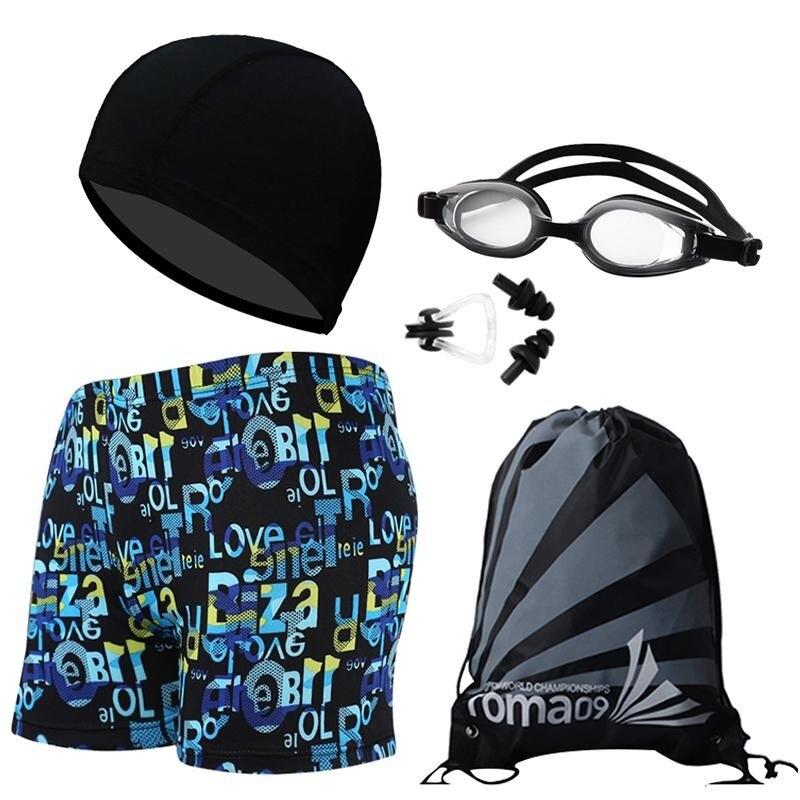 MEN'S Swimming Trunks Goggles Swimming Cap Three-piece Set-BOY'S Big Boy Boxer Swimming Trunks Students Shorts Swimwear