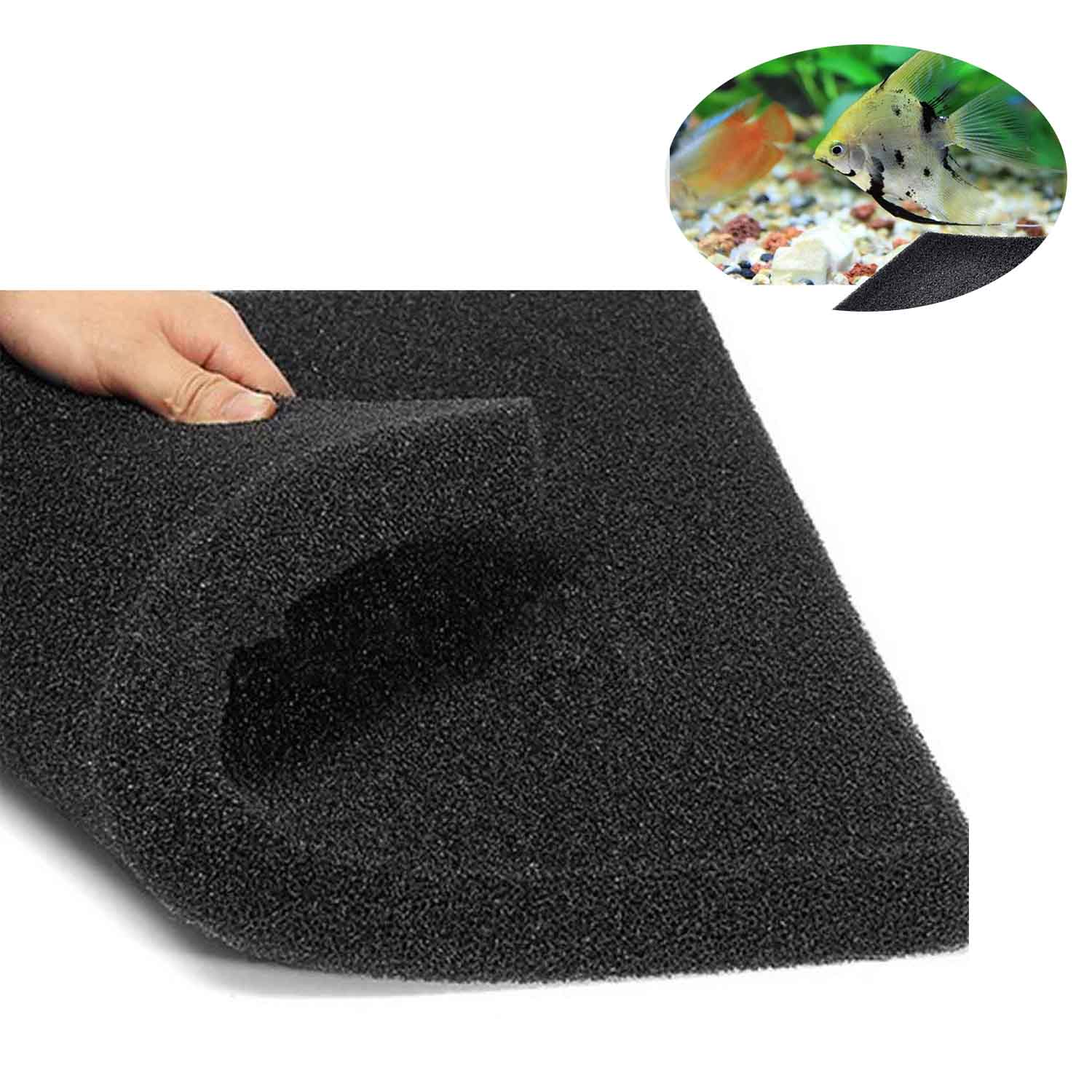 50 x 50 x 2cm Aquarium Activated Carbon Media Filtration Sponge Filter Cut-to-Fit Foam Pad for Fish Pond Reef Canister Tank image