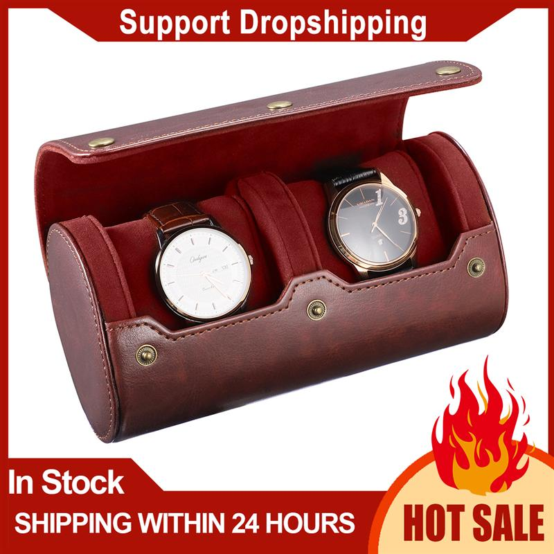 NICERIO Travel Watch Case PU Leather Watch Box 2 Slots Watch Storage Organizer Bracket Holder for Travel Business Trip