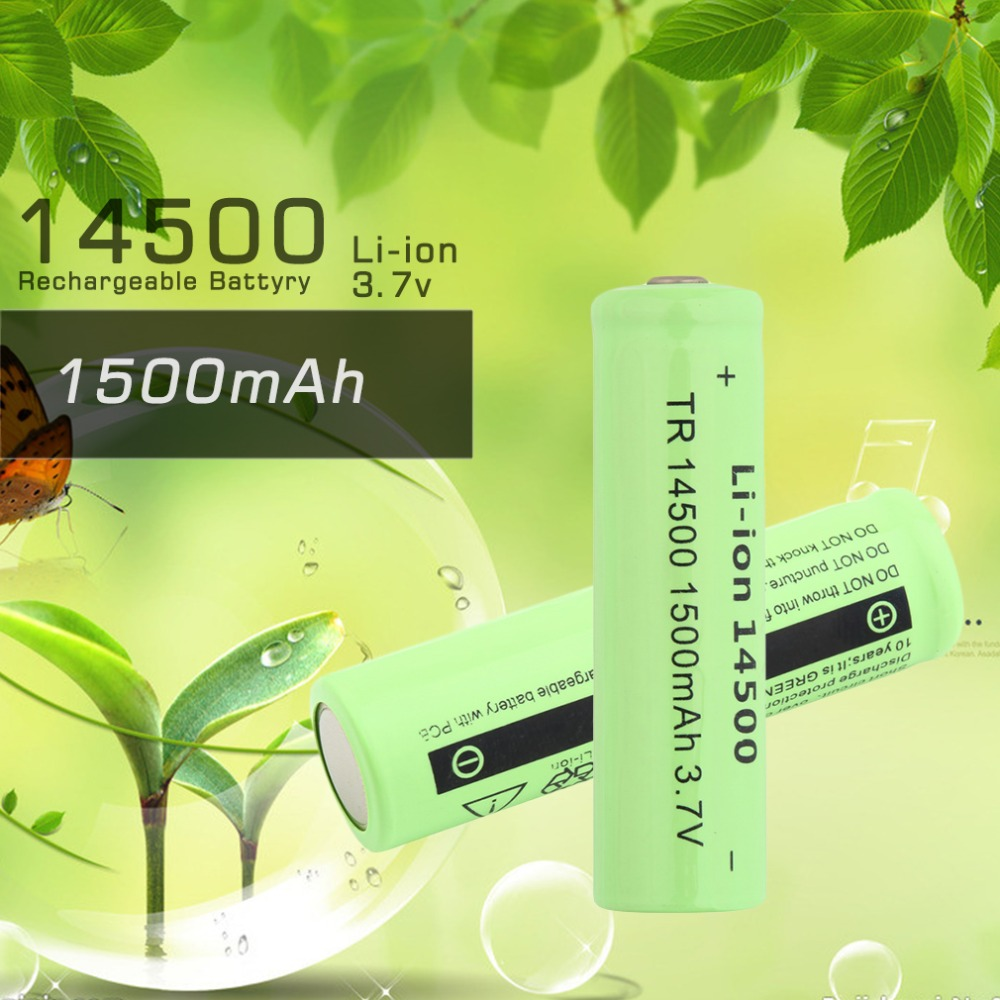 1 pcs High Quality <font><b>3.7V</b></font> 1500mAh TR <font><b>14500</b></font> Li-ion Rechargeable Battery for Flashlight Green Shell Torch Replacement Battery image