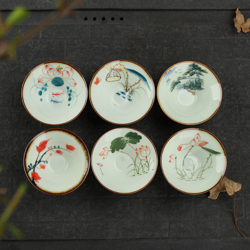 [GRANDNESS] China Porcelain Tea Cup Handpainted Ceramic Cup Set Chinese Kung Fu Teacup Sets Tea Teacup 50ml Bamboo Hat Cup