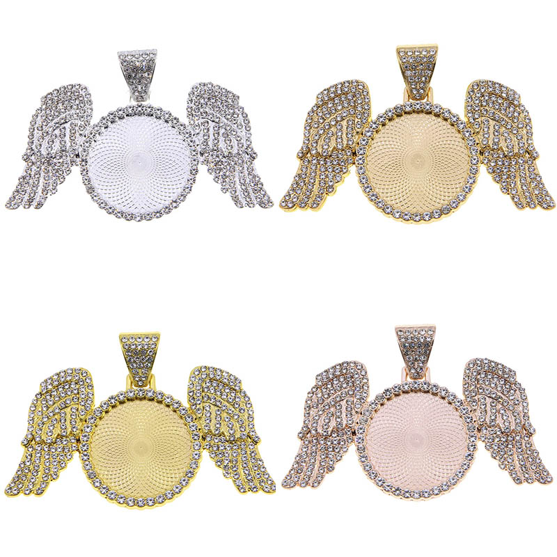 New style  Angel Wings  Pendant Base DIY Jewelry Making Wing Necklace Chains 25mm Alloy Tray Crafts Accessories Jewellry Finding