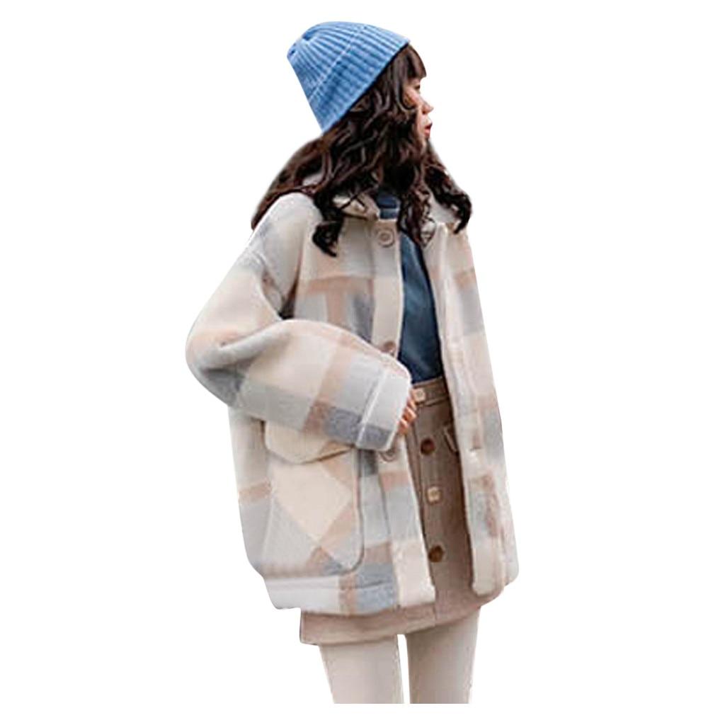 KANCOOLD, Женская куртка, в клетку, толстый кардиган, плюс бархат, пальто, для женщин, осень, зима, с отворотом, пальто, Тренч, куртка, тонкое, официальное пальто - Цвет: Синий