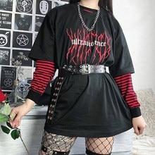 Satan me fez fazê-lo alfabeto hip hop punk goth t harajuku casual grande tamanho casual moda feminina manga curta diversão diabo t-shir