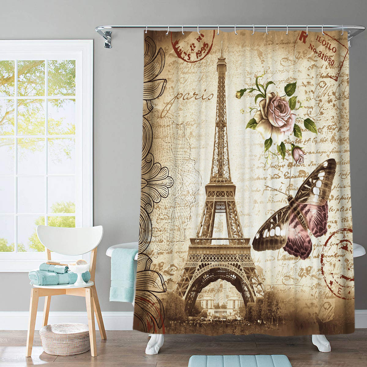Paris Tower 3D Printed Bathroom Curtain Set Made with Flannel Fabric For Bathroom Use 2