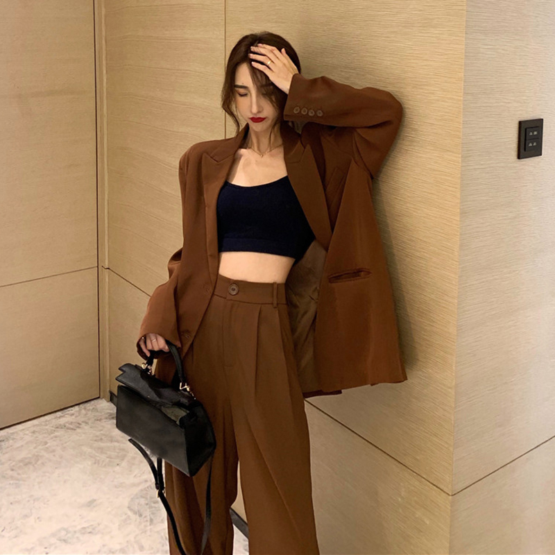 Solid Color 2019 Women Suit Casual Pant Suits For Women Tailleur Femme Oversized Blazer Set Conbinaison Femme Ropa Formal Mujer
