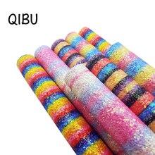 QIBU 22*30 см радужные массивные блестящие листы Красочные искусственная кожа Ткань Винил DIY сумки волосы луки ткань синтетическая кожа