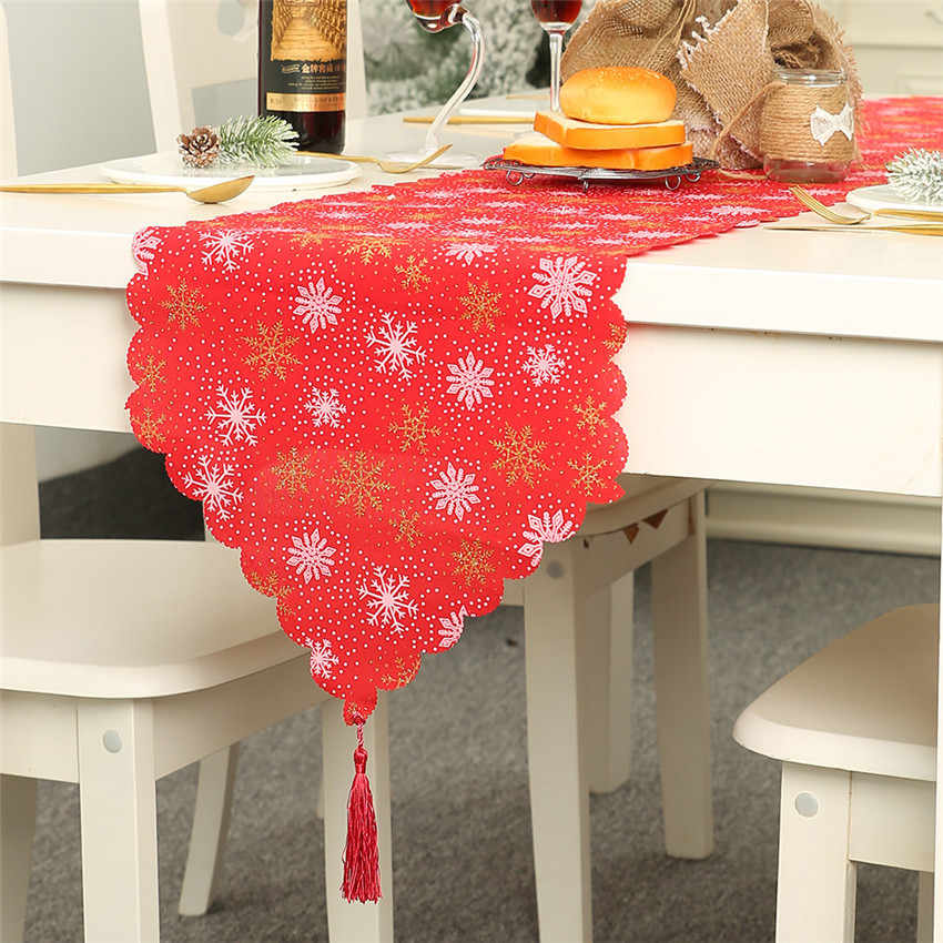 Xmas Decoration for home Table Runner Christmas styles Burlap print Snowflake Elk Table flag ornaments Noel Table Linens