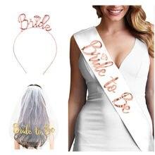 Decorações de casamento chuveiro de noiva véu de casamento equipe noiva para ser cetim sash despedida de solteira festa menina galinha decoração suprimentos