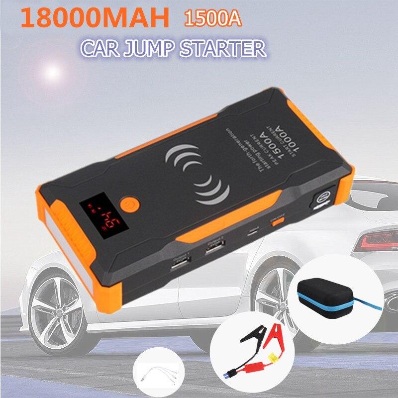 12V 22000mAh Car jump Starter Booster 1500A 400A Power Bank Quick Wireless Charing Emergency Car Jump Starter Battery Power