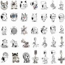 Женский браслет Pandora с кристаллами в виде совы, Счастливого кота, собаки, браслет, ожерелье, сделай сам, женские модные ювелирные изделия с се...