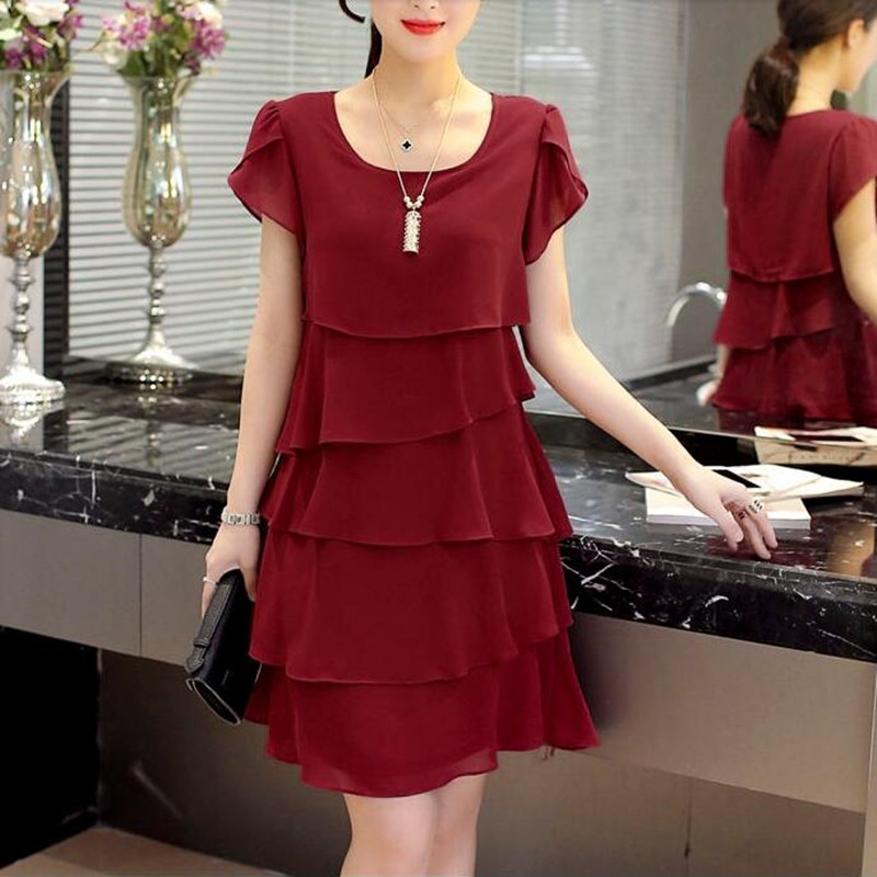 Ultimate SaleCocktail-Dresses Knee-Length Chiffon Wine Red Black Pink Plus-Size Women Summer 5xl Casual