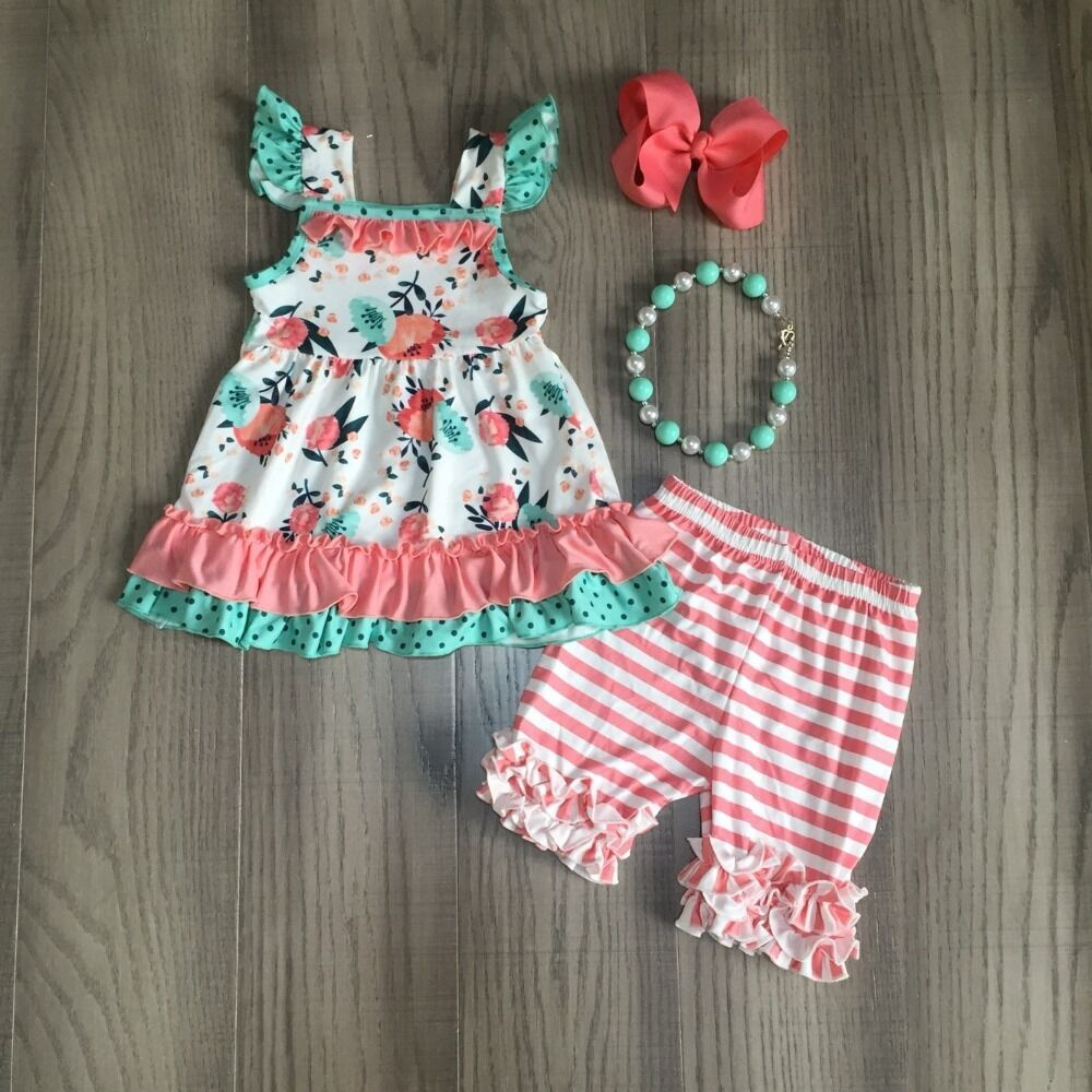 Baby Girls Summer Outfits Baby Kids Floral Outfits Girl Floral Top With Coral Stripe Shorts Children Outfit With Accessories
